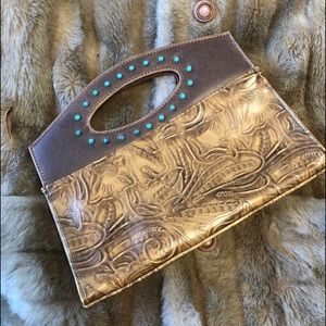 Western Carved Leather and Stud Clutch Purse